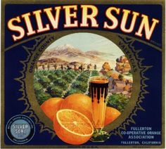 Fullerton Silver Sun Orange Citrus Crate Label  Print