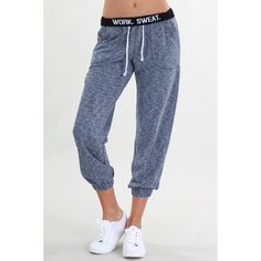 Melange Logo Elastic Pants (570 ZAR) ❤ liked on Polyvore featuring activewear, activewear pants and logo sportswear