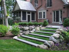 stairs in lawn | Landscaping & Design: sod steps, lawn, steps