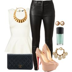 Topshop peplum, Acne leather pants, Chanel purse and Louboutins