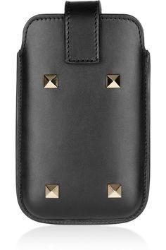 Valentino | Stud-embellished leather iPhone sleeve | NET-A-PORTER.COM
