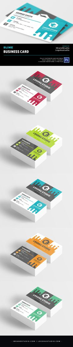 Free Slime Business Card Template - 5 Colors, PSD