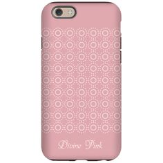 Divine Pink White Dotted Rings Pattern iPhone 6 case, editable text, personalized pink princess iphone case.