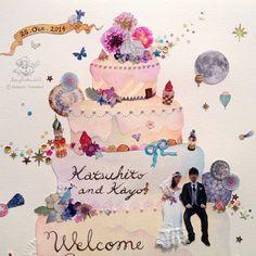 【ウェルカムボード】ウェディングケーキのコラージュ Welcome Boards, Thanks Card, Music Party, Wedding Music, Wedding Welcome, Frame It, Backdrops, Projects To Try, Thankful