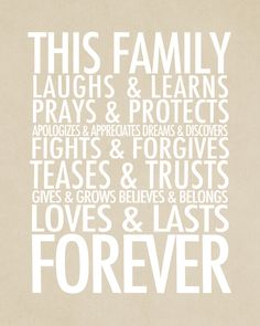 Simple As That: Family Forever typography wall art. Love this.