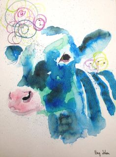 Watercolour Painting Christmas Gift Abstract Cow Original Art A4 by MAG ZEBEN29 http://stores.ebay.co.uk/magzeben/
