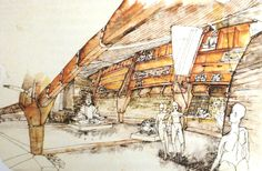 Inami Woodcarving Museum, Japan, by Peter Salter Paper Architecture, Architecture Student, Amazing Architecture, Hand Sketch, Drawing Techniques, Wood Carving, Illustration Art, Illustrations, Sketches