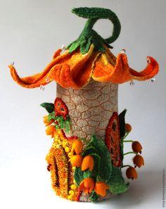 Merino Wool and Silk Hand Felted 'TIGER LILY' Fairy House / Nightlight  ................................................ by Irina Orlova