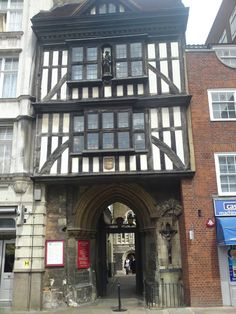 """Tudor gateway to Charterhouse - Smithfield, London - buildings date back to the 14th century - Thus, today it """"conveys a vivid impression of the type of large rambling 16th century mansion that once existed all round London"""" (Pevsner: The Buildings of England)"""