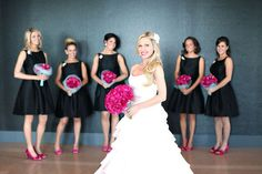 Bold Black with a touch of Hot Pink. I like the pink, but I'm not a huge fan of black at weddings.