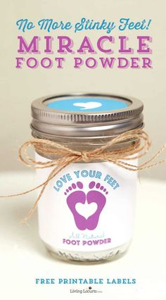 Miracle Foot Powder – No More Stinky Feet! Homemade Foot Powder made with Essential Oils. No More Stinky Feet! Enjoy cute free printable labels for [. Young Living Oils, Young Living Essential Oils, Stinky Shoes, Just In Case, Just For You, Foot Powder, Foot Remedies, Essential Oil Uses, Printable Labels
