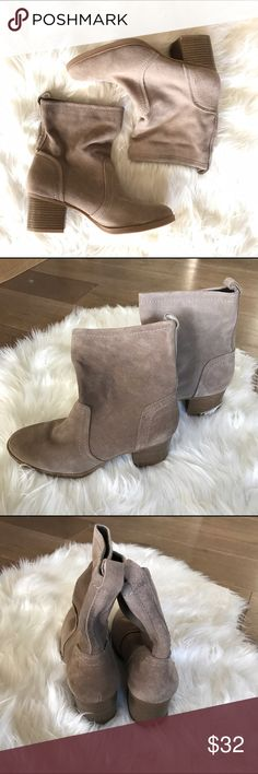 """White Mountain bernata beige bootie size 9 White Mountain bernata beige bootie size 9. A modest heel gives a subtle but decided lift to your look and a soft neutral makes these on-trend boots a pairable addition to your wardrobe.  2.25"""" heel 6.25"""" shaft 12"""" circumference Pull-on Cushioned footbed Suede upper Textile lining Man-made sole Imported White Mountain Shoes Ankle Boots & Booties"""