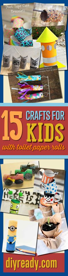 Crafts for Kids Using Toilet Paper Rolls | DIY Projects for Kids and Easy, Cool Craft Ideas http://diyready.com/crafts-for-kids-toilet-paper-roll-craft-projects/
