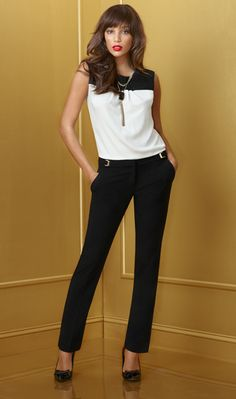 color-blocked black and white sleeveless blouse,  straight and black ponte trousers, black pumps, simple necklace #work #fashion #blackandwhite