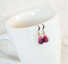 Handmade Drop Dangle Earrings, 14K Gold Filled Earwires, Vintage 1950s JAPAN Art Glass Teardrops, Pink Colorful Confetti, Bridesmaid Jewelry. $22.00, via Etsy.