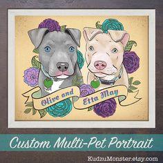 Multiple Pet portrait 8x10 print custom dog or cat by KudzuMonster