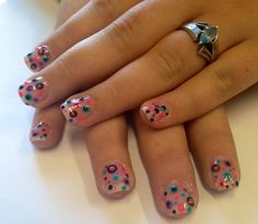 Multi colour polka dot gel nails by The Henhouse in Cochrane Alberta Canada 403-932-4640