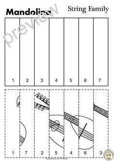 String Instruments Line Puzzles by Anastasiya Multimedia Studio Violin Instrument, Guitar Sketch, Bass Guitar Lessons, Music Worksheets, Lindsey Stirling, Student Reading, Music Classroom, Mandolin, Music Education