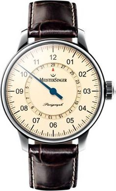 """Deco"" Stylish and classy. A great way to read time.    MeisterSinger Perigraph AM1003 Mens watch"