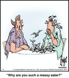 Sometimes HOW we eat is as important as WHAT we eat, as in this #Herman #comic. www.trythisnewrecipe.blogspot.com