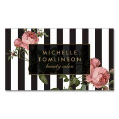 Vintage Floral Striped Salon Business Card. Make your own business card with this great design. All you need is to add your info to this template. Click the image to try it out!