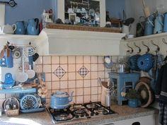blue & white country kitchen