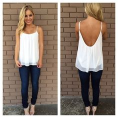 Available @ http://DollarTshirt.com ivory low back chiffon tank- just got this the other day and wore it to set!!! A