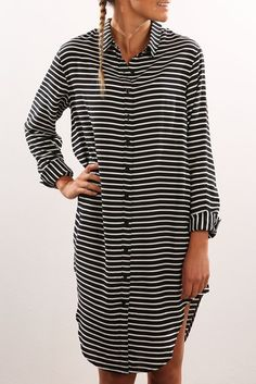 When We Strike Shirt Dress Black White