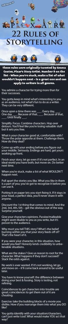 Pixar's Rules Of Storytelling… Great for kids learning to write!