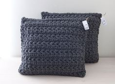 Dark grey crocheted pillow by HomeSweetHomeDesign on Etsy, €45.00