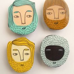 bearded boys magnet set by JordanGraceOwens on Etsy Beard Boy, Bearded Men, Card Stock, Magnets, Scrap, Buy And Sell, Dolls, Sweet, Illustration