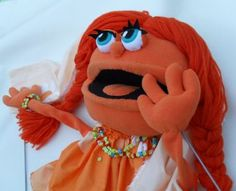 girlly orange monster- pro puppet custom build with arm rods order - Puppets in a bag
