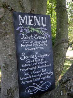 Lavender inspired wedding menu chalkboard
