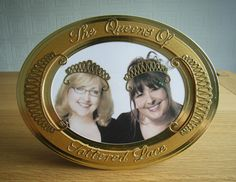 Embellished photograph frame. Frame made using Spellbinders grand nesting plain ovals dies. Frame embellished with die cuts using the Tattered Lace Venetian Swag dies. Sentiments cut with Britannia Alphabet dies.