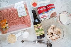 Easy Salisbury Steak recipe that is baked in the oven. This simple dinner uses a homemade mushroom gravy, ground beef and bread crumbs. French Onion Salisbury Steak Recipe, Homemade Salisbury Steak, Salisbury Steak Recipes, Freezable Meals, Freezer Meals, Easy Steak Recipes, Beef Recipes, Cambells Soup Recipes, Oven Hamburgers
