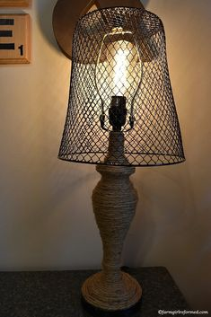 how to turn an old lamp into rustic farmhouse decor-make a statement with this rustic farmhouse lamp! farmgirlreformed.com