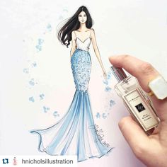 """""""#Repost @hnicholsillustration with @repostapp. Swept into an early spring (while freezing in Boston) by my favorite @jomalonelondon scent, """"Wild Bluebell""""…"""""""