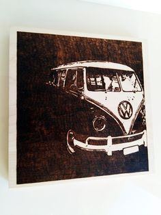 "Volkswagen ""samba"" pyrography photo for wall, house decor. by WoodBurningStudio on Etsy"