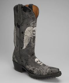 Take a look at this Black Leather T-Toe Skull Western Boot - Women by Johnny Ringo Boots on #zulily today!