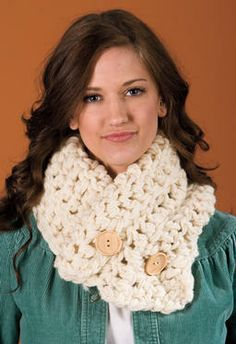 Pull it high! Double it over as a collar! Wear it low! Twist it!  Chase away cold from neck, face, and shoulders!  Easy enough for a beginner, fun for the most advanced! No buttonholes, button it anywhere!