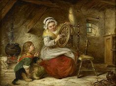 Alexander Leggett (1828-1884), oiling the spinning wheel, Scotland