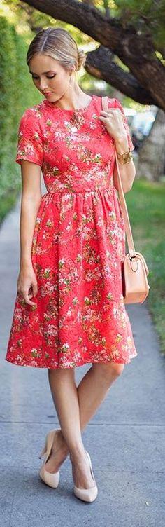 Red Multi Floral Midi Dress