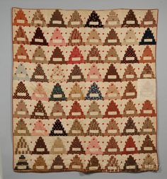 19th century Pieced Cotton Wedding Cake Pattern Friendship Quilt (tied/inked names) and a Pieced Cotton Bedspread