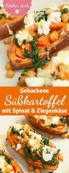 Rezept für gebackene Süßkartoffeln mit Ziegenkäse und Spinat A healthy main course from the oven: baked sweet potatoes filled with spinach and goat cheese. If you vary the topping ingredients a little Healthy Food Recipes, Veggie Recipes, Cooking Recipes, Budget Cooking, Paleo Food, Sandwich Recipes, Food Budget, Snacks Recipes, Juice Recipes