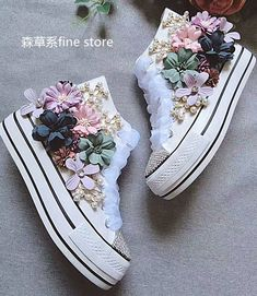 Womens Canvas Rhinestones Floral Pearl Sport Sneakers Platform Shoes High Top in Clothing, Shoes & Accessories, Women's Shoes, Athletic Shoes Diy Fashion, Fashion Shoes, Fashion Accessories, Sneakers Fashion, Baby Girl Shoes, Girls Shoes, Ladies Shoes, Bridal Shoes, Wedding Shoes