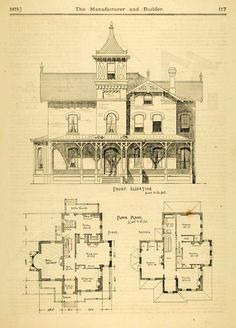 vintage Victorian House Plans | 1873 Print House Home Architectural Design Floor Plans Victorian ...