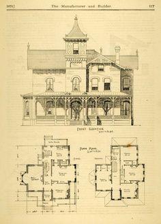 vintage Victorian House Plans | 1873 Print House Home Architectural Design Floor Plans Victorian ...