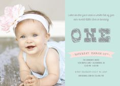 First Birthday Invitation / Custom Photo & Colors / Printable. $15.00, via Etsy.
