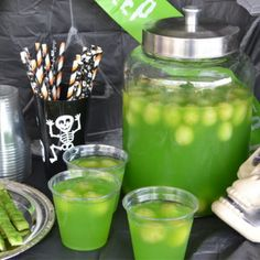 Eye of Newt Halloween Punch Recipe Beverages with green grape, sugar, water, kool-aid, pineapple juice, ginger ale