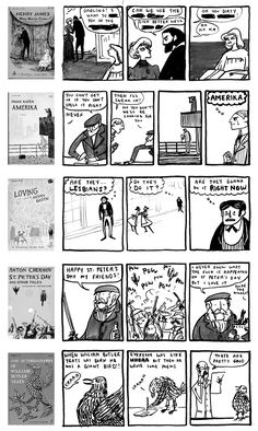 Kate Beaton does awesome web comics with old book covers by Edward Gorey. Two of my favourite illustrators!